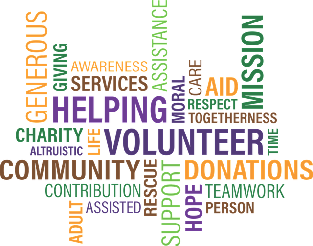 colourful graphic of text made up of words relating to voluntary sector