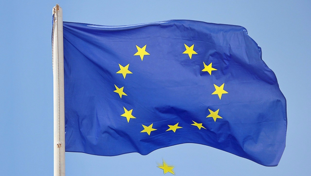 European flag with one falling star