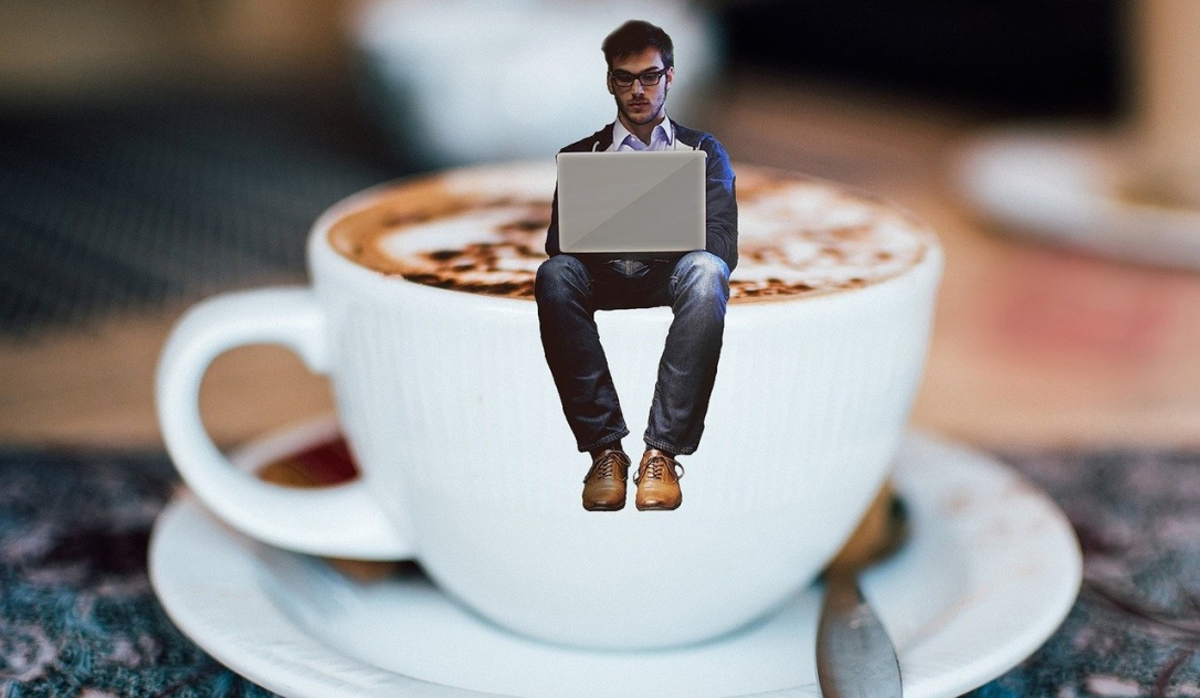 Picture, worker in coffee cup